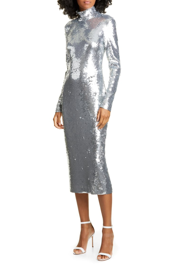 Veronica Beard Nila Sequin Long Sleeve Midi Dress