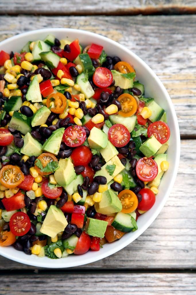 Cucumber, Corn, Black Bean, Tomato, and Avocado Salad