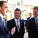 Harry watched William as he chatted with David Beckham during a royal reception in June 2010.