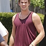 Liam Hemsworth Shows Engagement Excitement on Set