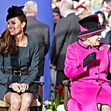 The queen checked out the scene on the first official day of her Jubilee tour.