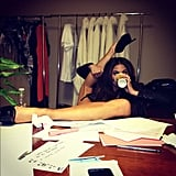 She showed off her flexibility while working on a shoot. Source: Instagram user chrissy_teigen