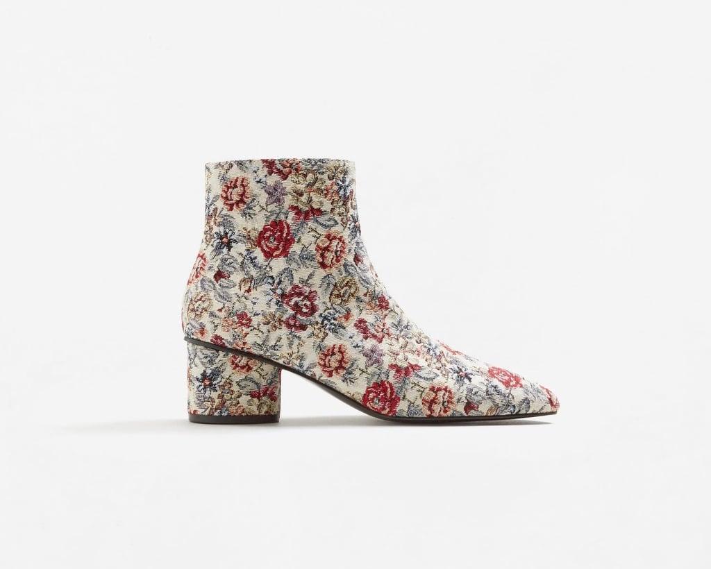 Mango Floral Jacquard Ankle Boots ($100)