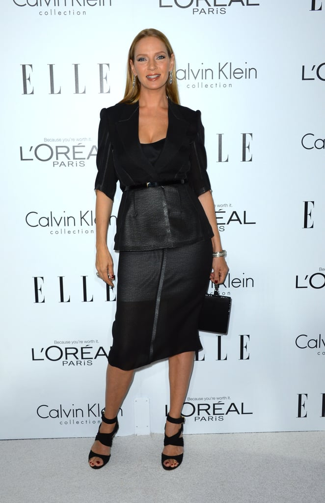 Uma Thruman looked ultrasleek in a formfitting peplum-adorned pencil skirt and stick-straight locks.