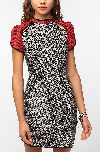 Not so literal, but this Silence & Noise Knit Origami Dress ($59) plays with the trends with statement print and subtle cutouts.