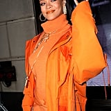 Rihanna's Orange Outfit at Fenty Event During Fashion Week
