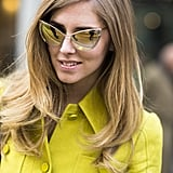 Blogger Chiara Ferragni of The Blonde Salad paired her incredible sunglasses with a gorgeous blowout. Source: Le 21ème | Adam Katz Sinding