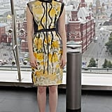 Emma Stone wore yellow in Russia.