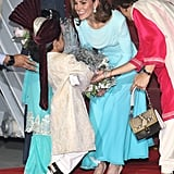 Kate Middleton Wearing a Blue Catherine Walker Dress in Pakistan
