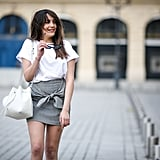 Tuck a Simple White T-shirt Into Your Skirt
