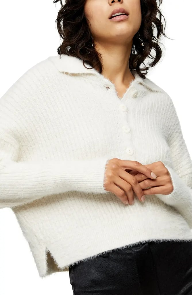 Topshop Rib Knit Polo Cardigan