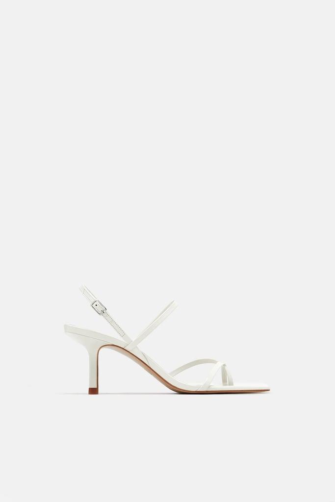 Zara Strappy Mid-Heel Leather Sandals