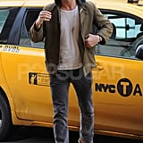 Ryan Gosling stepped out of a cab.