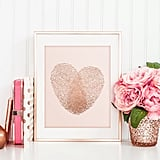 Real Foil Rose Gold and Blush Pink Thumbprint Heart ($10)