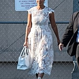 Tracee Left the Studio in a Lovely Lace Simone Rocha Dress, Chanel Tote in Hand, Walking Tall in Her Boots