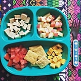 """""""Lunch: tofu, nectarines, tomato, quinoa crackers, and cheddar cheese."""""""