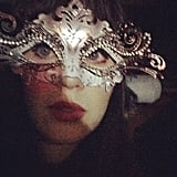 Even behind that jeweled mask, we'd know those doe eyes anywhere! Source: Instagram user zooeydeschanel
