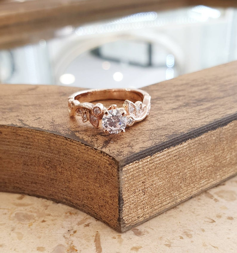 Moissanite Engagement 14k Rose Gold Ring