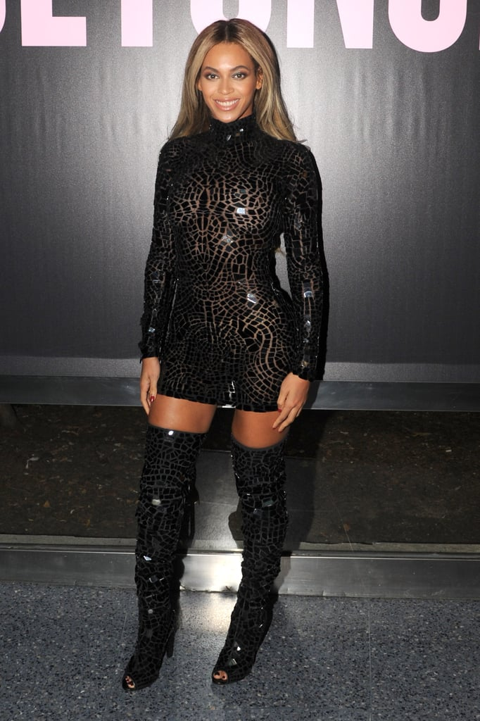 Beyoncé put her fit frame on display in a skintight Tom Ford look for an event celebrating the release of her visual album in December 2013.