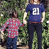 Drew Barrymore walked in LA with a young friend.