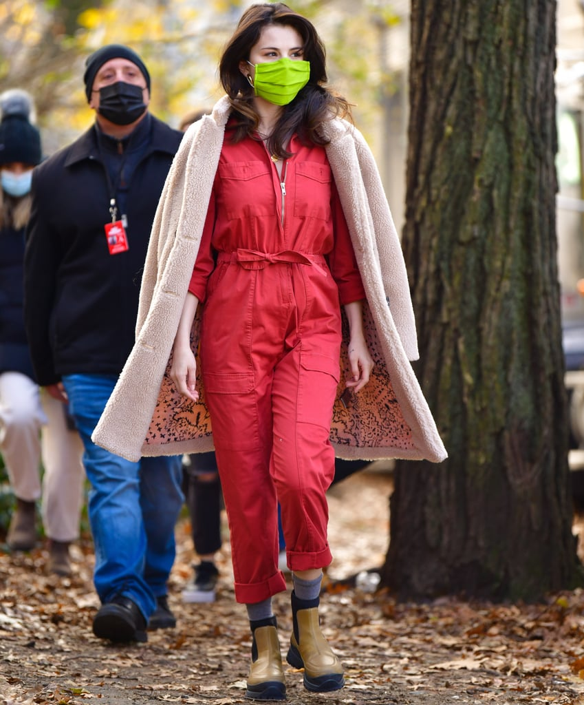 Selena Gomez Wears a Red Utility Jumpsuit on Set in New York