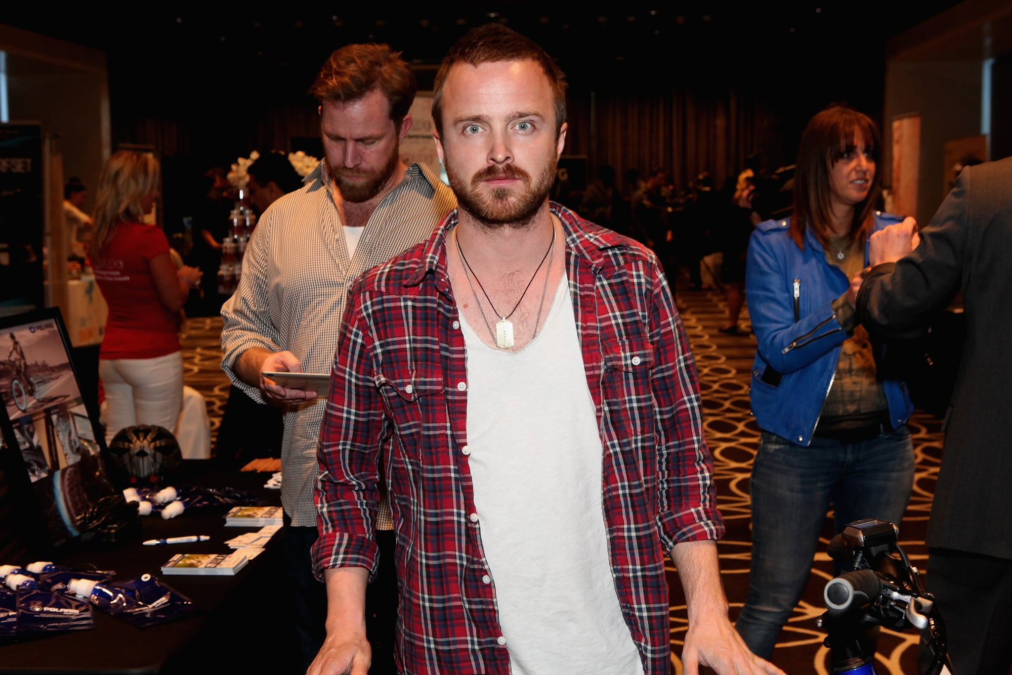 Aaron Paul stepped out for Kari Feinstein's style lounge on Friday night in LA.