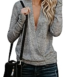 Nulibenna Wrap Deep V Neck Sweater