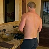 Breakfast was a nearly nude occasion, too . . . because everyone cooks in their boxer briefs, right?