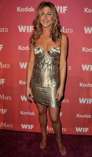 Photo of Jennifer Aniston Wearing Crinkly Metallic Prada Dress at Women in Film 2009 Crystal and Lucy Awards in LA