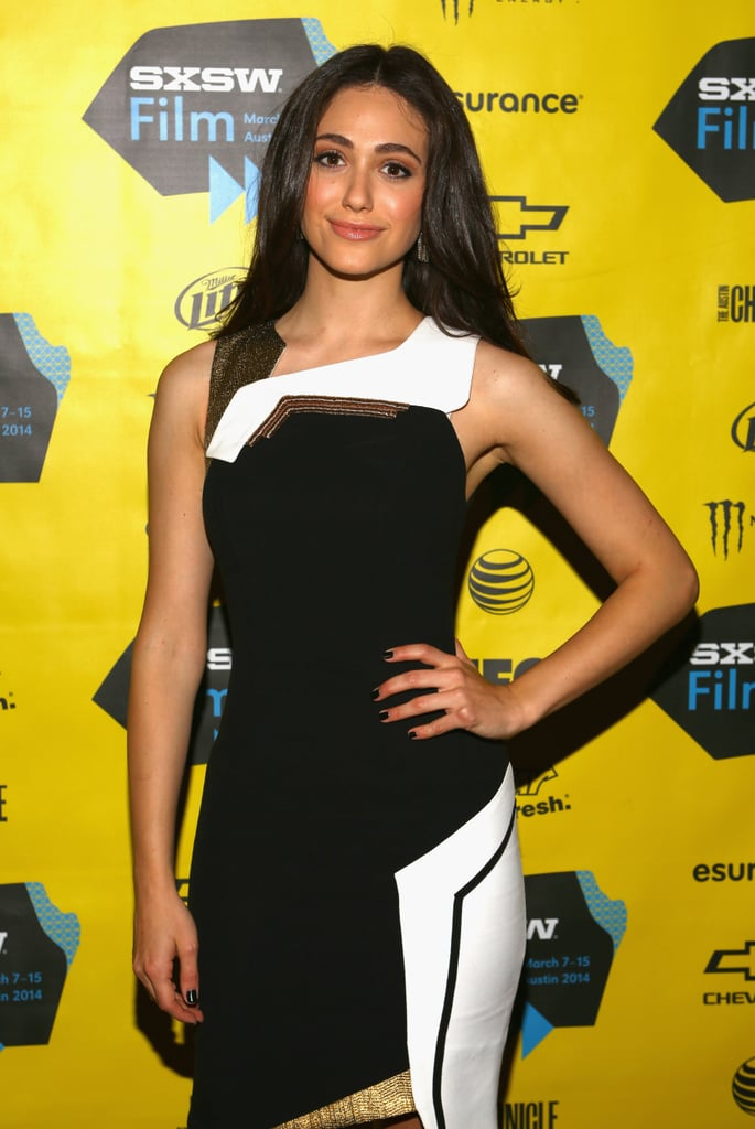 Emmy Rossum rocked black and white on Monday.