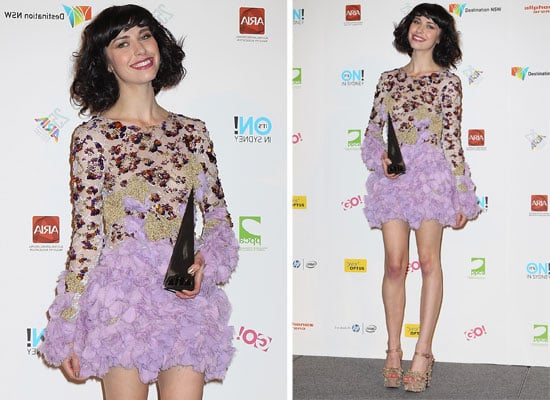 Pictures of Kimbra wearing Jamie Lee lilac ruffled dress at the 2011 ARIA Awards: So Gorgeous!