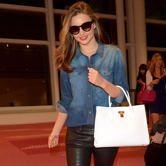 Miranda Kerr at the Tokyo Airport in Bright Pink Sneakers