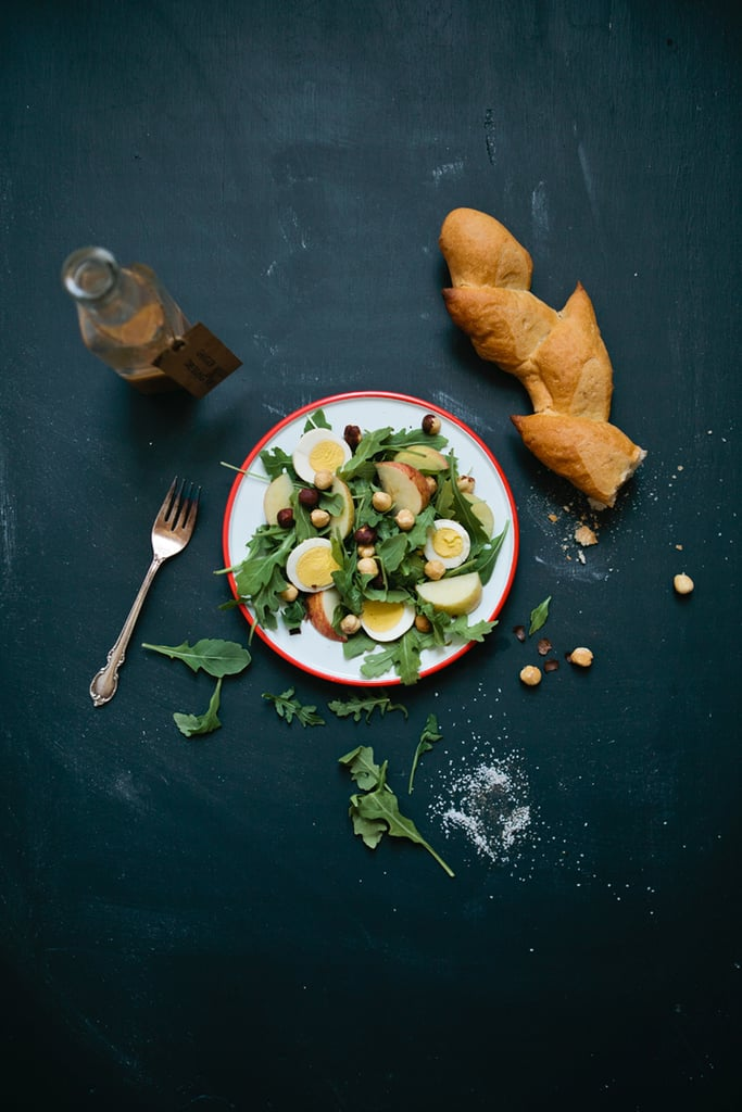 Arugula Salad With Toasted Hazelnuts, Pickled Egg, and Ginger-Miso Dressing