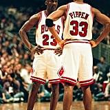 Michael Jordan and Scottie Pippen During an Atlanta Hawks v Chicago Bulls Game in 1997