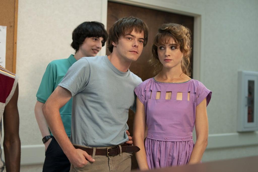 Finn Wolfhard, Charlie Heaton, and Natalia Dyer strike a pose.