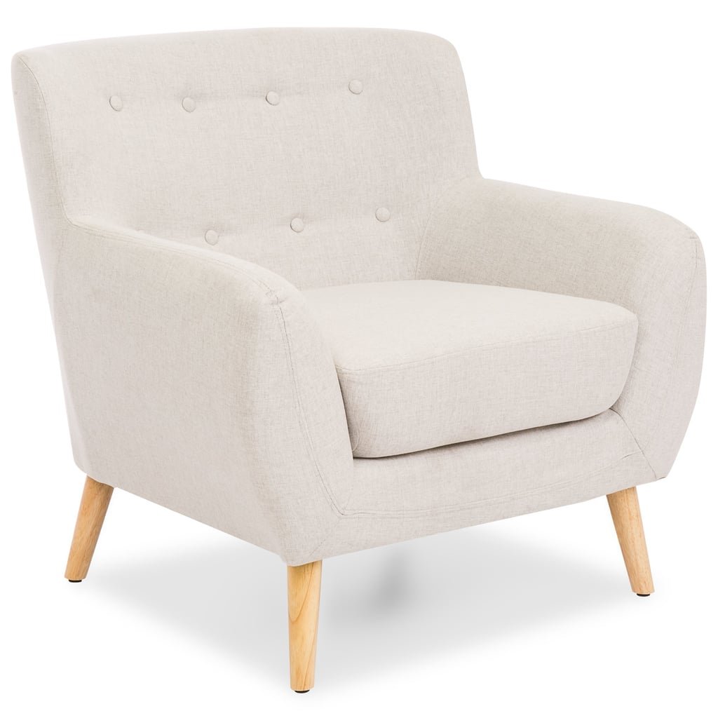 Mid-Century Modern Linen Upholstered Button Tufted Accent Chair