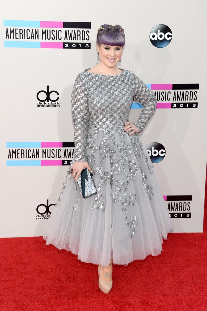 Kelly Osbourne had a princess moment in Rami Al Ali. She finished her fairy-tale look with bone-coloured leather Aldo pumps, Erickson Beamon Rocks jewellery, and a marbled sequin clutch.