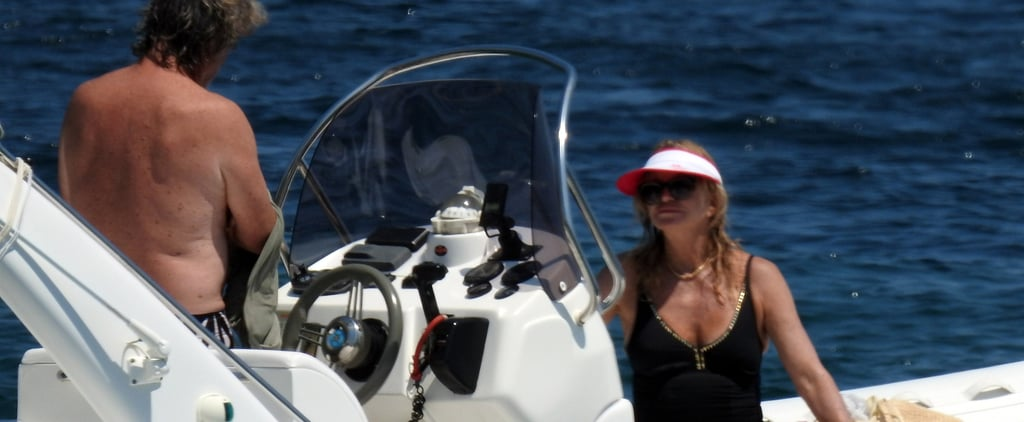 Kurt Russell and Goldie Hawn Have an Overboard Moment While Boating in Greece