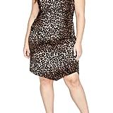 Rachel By Rachel Roy Leopard Print Asymmetrical Drape Dress