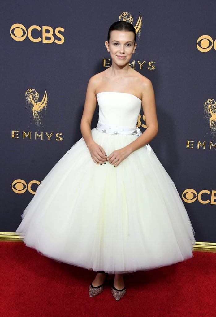 Millie Bobby Brown in White Calvin Klein Dress at 2017 Emmys