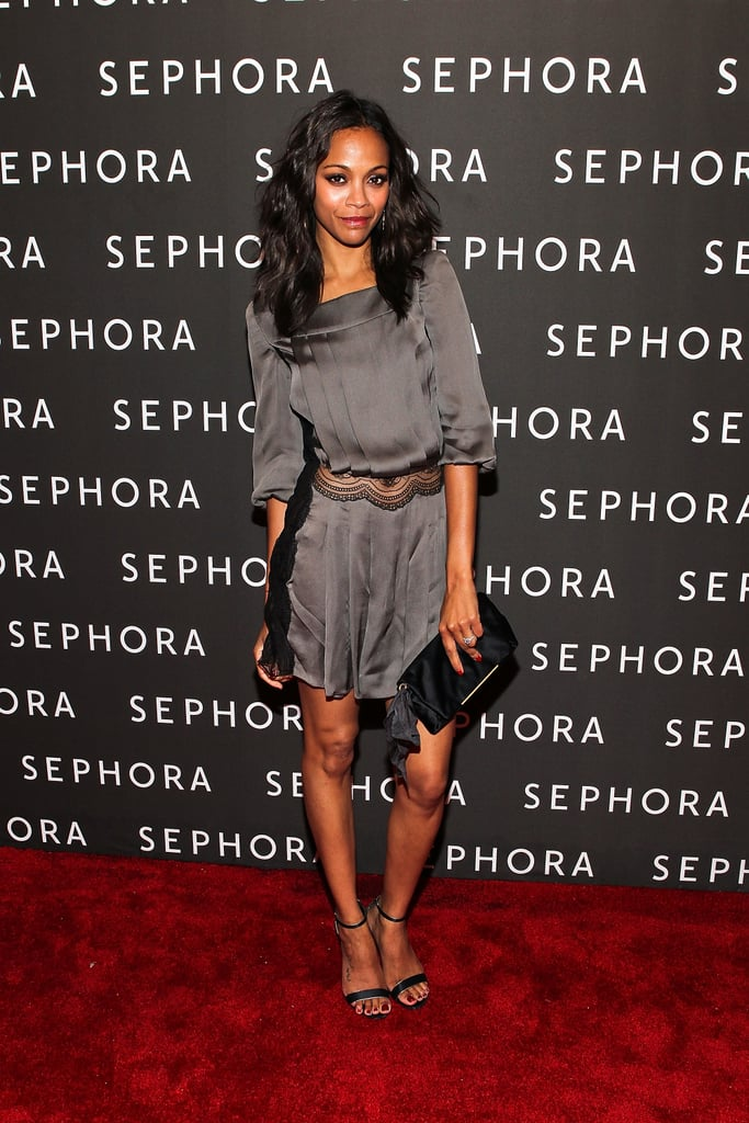 She wore a silky pewter-toned Azzaro dress with Sergio Rossi heels and a Lanvin clutch to the Sephora Meatpacking District opening in September 2011.