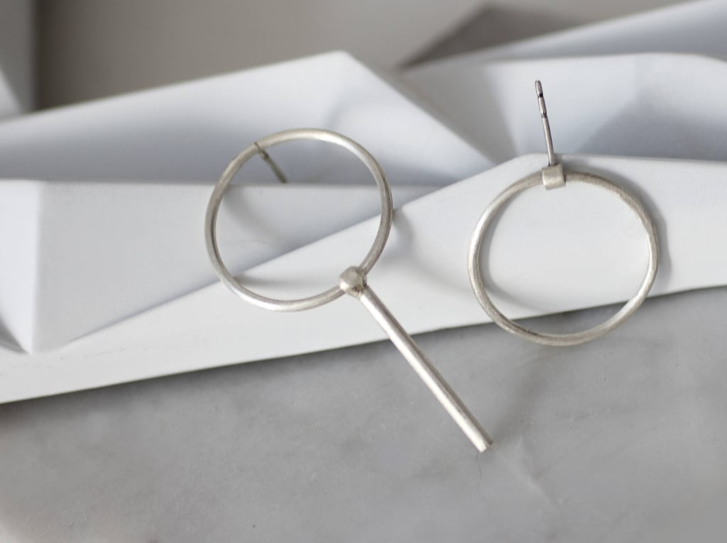 Silver Circle Asymmetrical Earrings