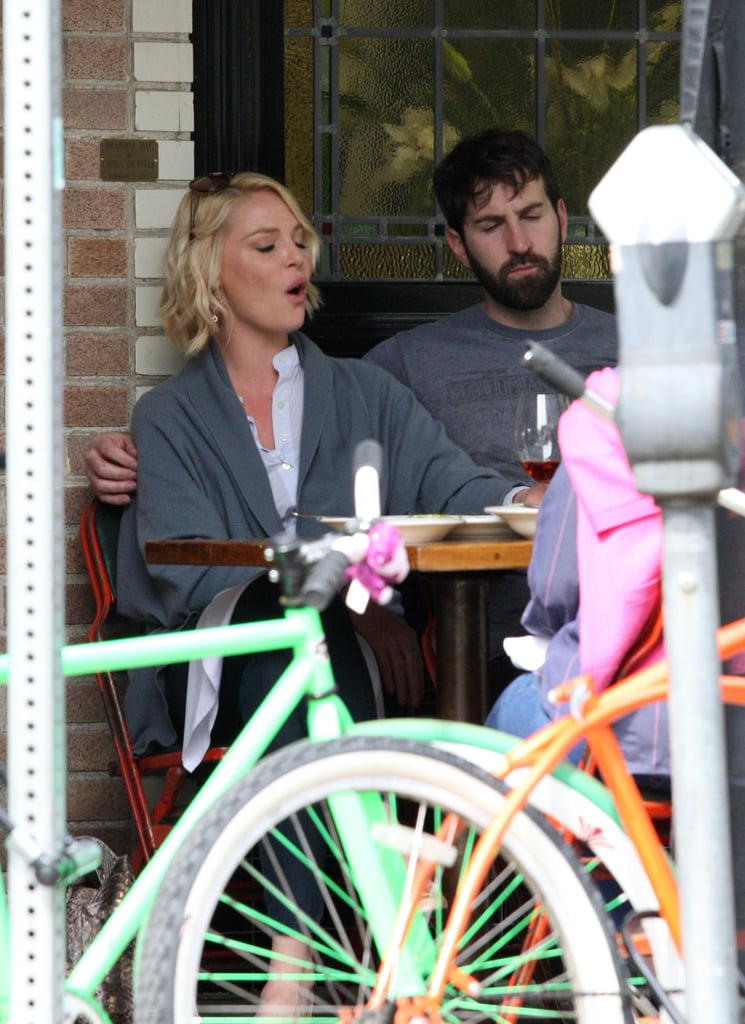 Katherine Heigl wore a cozy gray sweater for her afternoon outing.