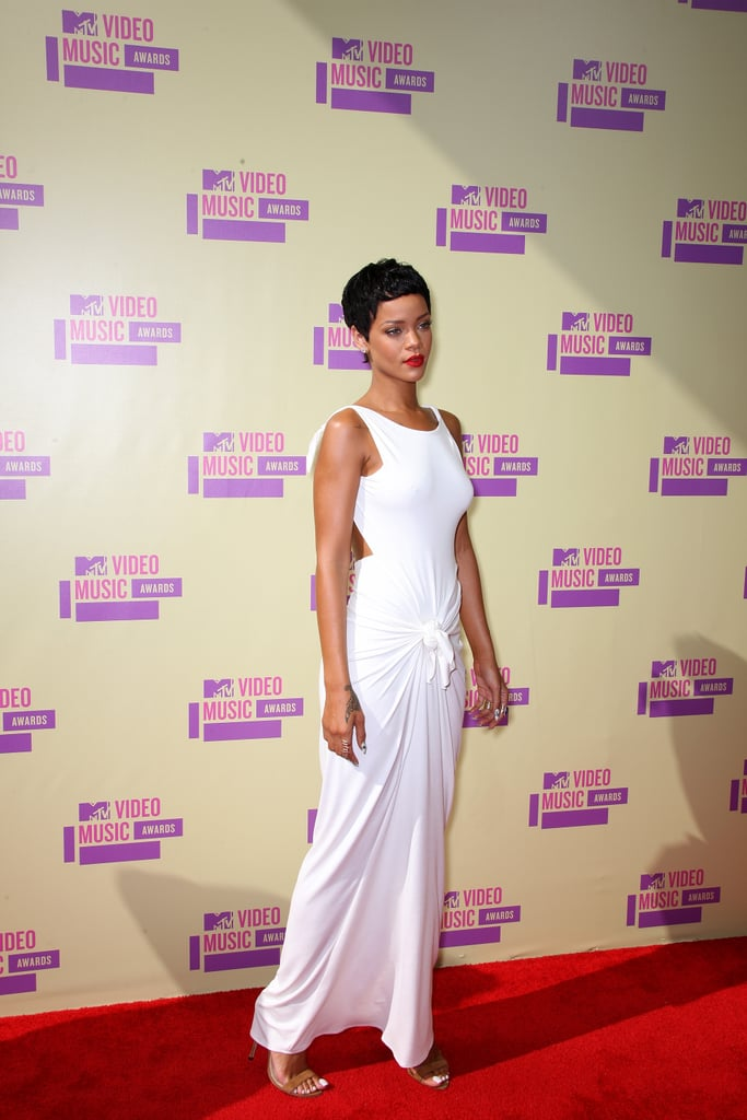 Rihanna was resplendent in white Adam Selman at the MTV VMAs.