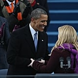 Kelly Clarkson shook hands with President Obama before he was sworn in for his second term Monday in DC.