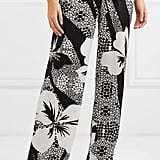 Marie France Van Damme Printed Silk-Satin Wide-Leg Pants