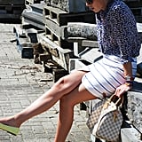 Mixed prints and a bold pop of color give this sophisticated look a cooler spin. Source: Lookbook.nu