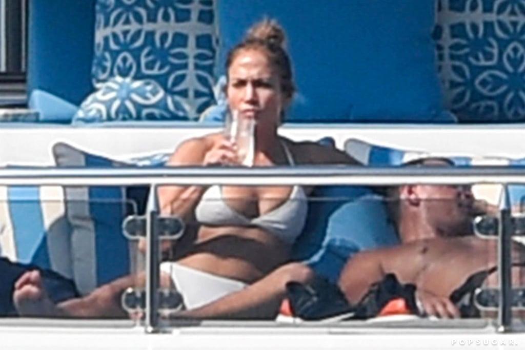 Jennifer Lopez White Bikini on Yacht Italy