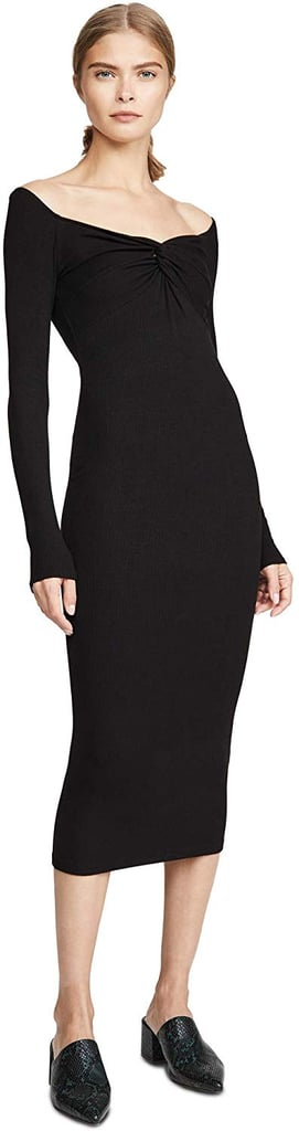 Enza Costa Women's Silk Rib Off-Shoulder Twist Midi Dress