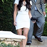 Kim Kardashian in a white dress.